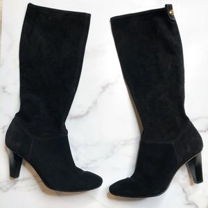 Coach Black Suede Mid Calf  Boots, Size 9.5
